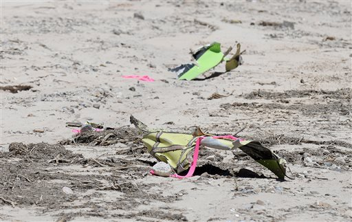 Scattered debris remains on the ground following a plane crash near the town of Ventucopa, Calif., Monday, June 22, 2015.