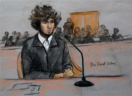 Dec. 18, 2014, courtroom sketch, Boston Marathon bombing suspect Dzhokhar Tsarnaev sits in federal court in Boston for a final hearing before his trial begins in January. (Jane Flavell Collins via AP, File)