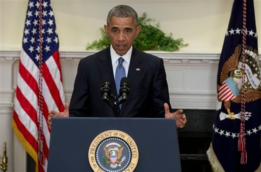 President Barack Obama speaks in the Roosevelt Room of the White House in Washington, Wednesday, June 24, 2015, about the completion of the Hostage Policy Review. The president is clearing the way for families of U.S. hostages to pay ransom to terror grou