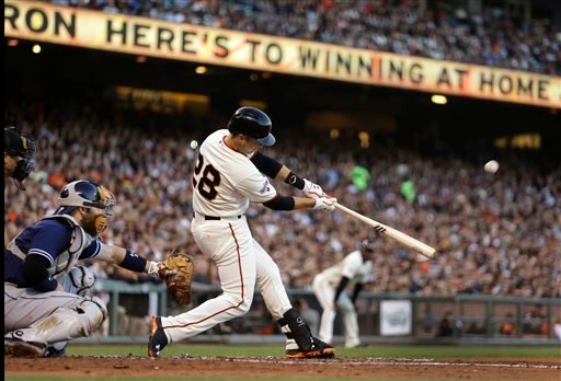 San Francisco Giants' Buster Posey connects for a grand slam off San Diego Padres' Ian Kennedy in the third inning of a baseball game Wednesday, June 24, 2015, in San Francisco.