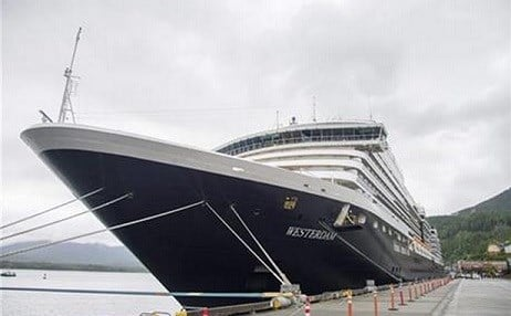 © The Holland America Line cruise ship Westerdam sits in dock in Ketchikan, Alaska, on Thursday