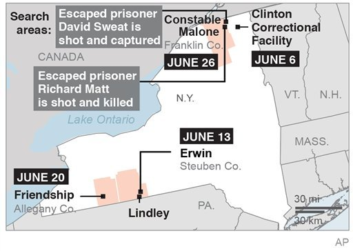 Map locates several locations in N.Y. related to the search and capture of two escaped prisoners; 2c x 3 inches; 96.3 mm x 76 mm.