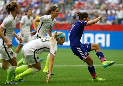 Japan's Yuki Ogimi, right, scores a goal as United States' Julie Johnston, (19) and other players look on during the first half of the FIFA Women's World Cup soccer championship in Vancouver, British Columbia, Canada, Sunday, July 5, 2015. (AP Photo/Elain