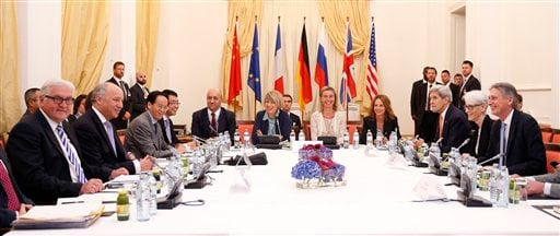 German Foreign Minister Frank Walter Steinmeier, left, French Foreign Minister Laurent Fabius, 2nd left, European Union High Representative for Foreign Affairs and Security Policy Federica Mogherini, 5th right,, U.S. Secretary of State John Kerry, 3rd rig