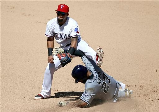 Texas Rangers' Rougned Odor lands on top of San Diego Padres' Matt Kemp (27) after a force at second as Odor looks to first on a double play attempt in the seventh inning of an interleague baseball game Sunday, July 12, 2015, in Arlington, Texas. The Padr