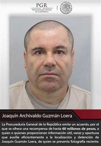 """This poster provided by Mexico's attorney general, shows the most recent image of drug lord Joaquin """"El Chapo"""" Guzman before he escaped from the Altiplano maximum security prison in Almoloya, west of Mexico City, Sunday, July 12, 2015. The Mexican governm"""