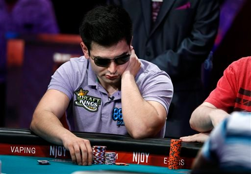 Alexander Turyansky competes at the World Series of Poker main event Tuesday, July 14, 2015, in Las Vegas.