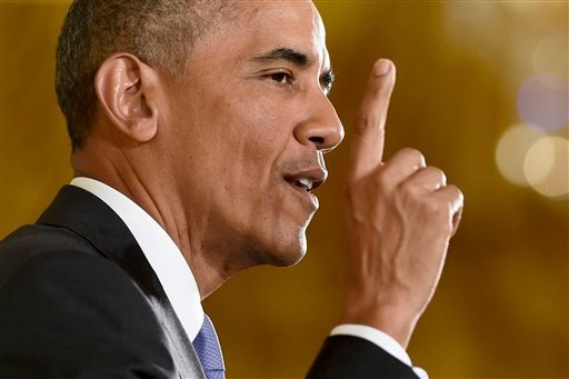 President Barack Obama makes a point during a news conference in the East Room of the White House in Washington, Wednesday, July 15, 2015. The president vigorously defended the nuclear deal with Iran, casting the historic accord as the only possibility to