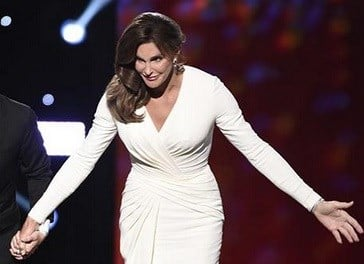 Caitlyn Jenner accepts the Arthur Ashe award for courage at the ESPY Awards. AP