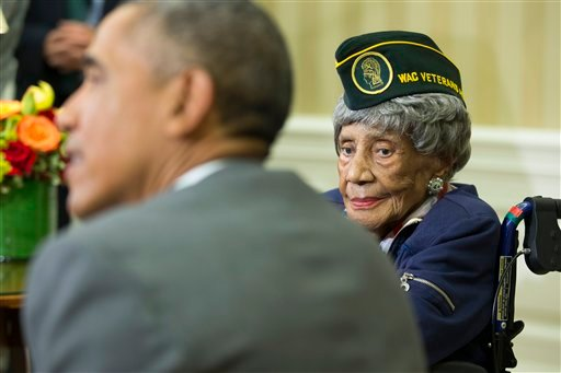 President Barack Obama meets with Emma Didlake, 110, of Detroit, the oldest known World War II veteran, Friday, July 17, 2015, in the Oval Office of the White House in Washington.