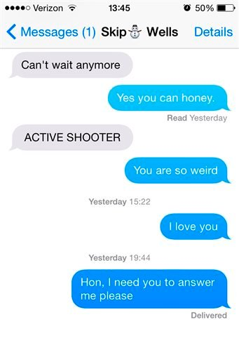 This screen shot provided by Caroline Dove, of her cell phone text application, shows what she says was her final text message exchange with her boyfriend, Marine Corps Lance Cpl. Skip Wells, on Thursday, July 16, 2015. Wells was among four Marines killed