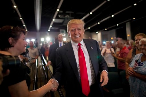 Republican presidential candidate Donald Trump speaks at his South Carolina campaign kickoff rally in Bluffton, S.C., Tuesday, July 21, 2015. (AP Photo/Stephen B. Morton)