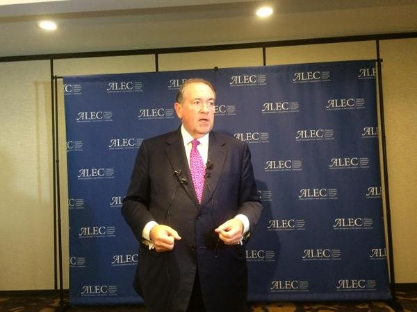 Former Arkansas Governor Mike Huckabee speaking to reporters at ALEC conference. (Thursday, July 23, 2015)
