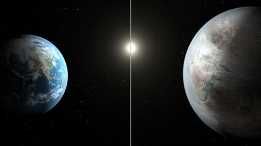 This artist's rendering made available by NASA on Thursday, July 23, 2015 shows a comparison between the Earth, left, and the planet Kepler-452b. It is the first near-Earth-size planet orbiting in the habitable zone of a sun-like star, found using data fr