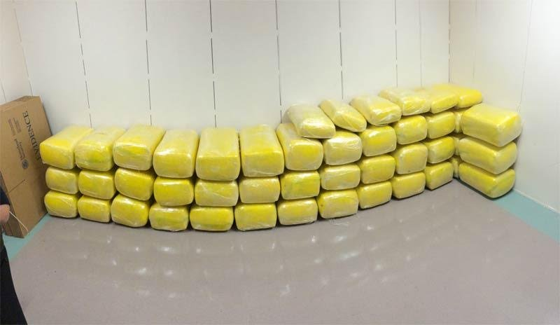 Forty five wrapped packages of marijuana, totaling about 1,102 pounds. Photo courtesy: U.S. Customs and Border Protection.