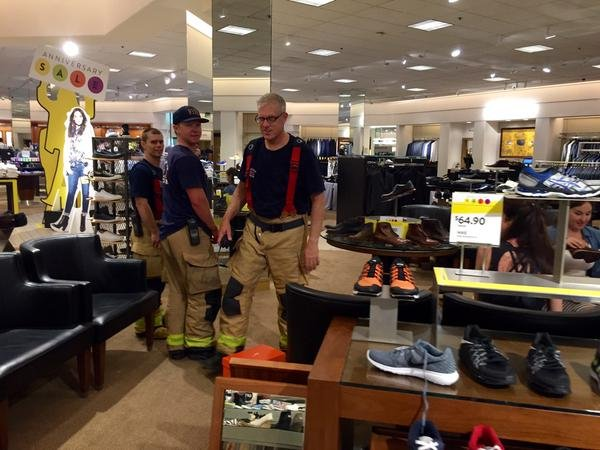 Firefighters are on the scene of a gas leak at UTC mall Friday, July 24, 2015. These firefighters are inside Nordstrom monitoring the air quality. Photo courtesy: @MarcellaCBS8