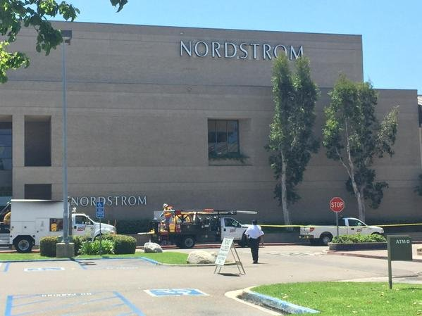 Nearby businesses were evacuated after a gas leak outside Nordstrom at Westfield UTC mall Friday, July 24, 2015. Photo courtesy: @KellyCBS8