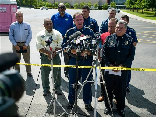 Col. Mike Edmondson, superintendent of the Louisiana State Police, provides an update on Thursday's deadly shooting at the Grand Theatre in Lafayette, La., Friday, July 24, 2015. (Paul Kieu/The Daily Advertiser via AP)
