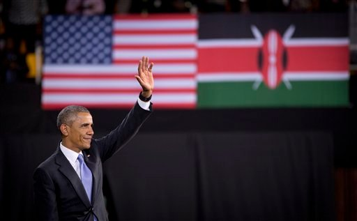 President Barack Obama speaks during a meeting with civil society leaders at the YALI Regional Leadership Center, on Sunday, July 26, 2015, in Nairobi. On the final day of his visit in Kenya, Obama laid out his vision for Kenya's future and broad themes o