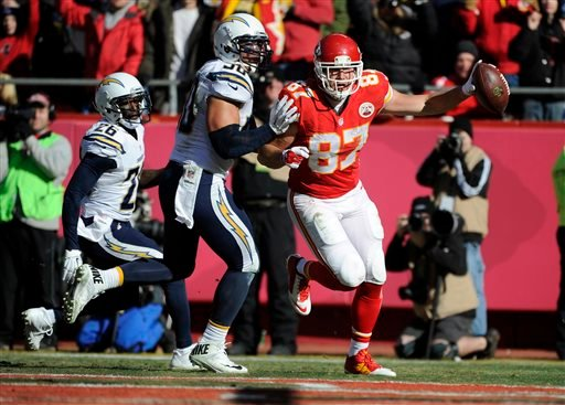 In this Dec. 28, 2014, file photo, Kansas City Chiefs tight end Travis Kelce (87) scores a touchdown after recovering a fumble by teammate wide receiver Dwayne Bowe (not shown).