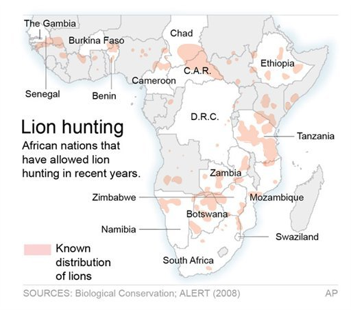 Map shows hunting of lions in Africa by country.