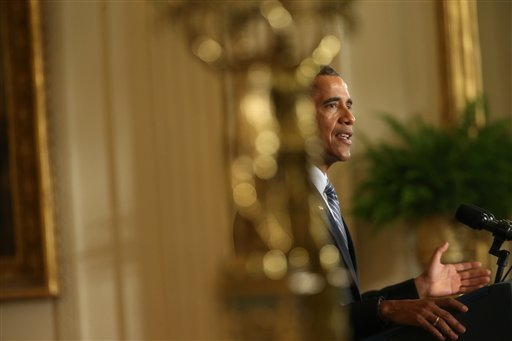 President Barack Obama speaks about his Clean Power Plan, Monday, Aug. 3, 2015, in the East Room at the White House in Washington. The president is mandating even steeper greenhouse gas cuts from U.S. power plants than previously expected, while granting