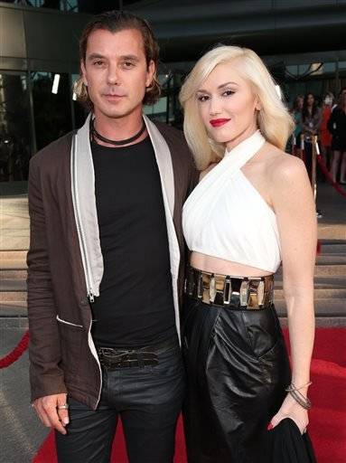 "In this June 4, 2013 file photo, musicians Gavin Rossdale, left, and Gwen Stefani attend the LA premiere of ""The Bling Ring"" in Los Angeles."