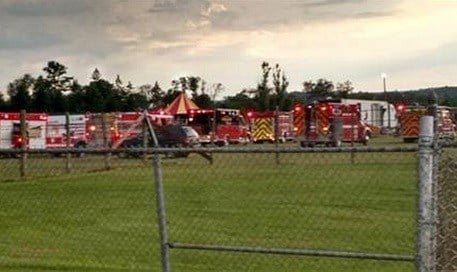 Authorities say the circus tent collapsed when a severe storm raked the New Hampshire fairground. AP