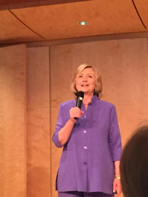 This is a picture of Hillary Clinton from inside her breakfast fundraiser Friday, August 7, 2015 at the La Jolla home of Qualcomm co-founder Irwin Jacobs and his wife, Joan.