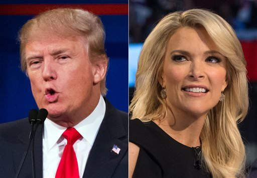 This combination made from Aug. 6, 2015 photos shows Republican presidential candidate Donald Trump and Fox News Channel host and moderator Megyn Kelly. (AP Photo/John Minchillo)