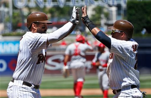 San Diego Padres' Matt Kemp, left, is congratulated by Yangervis Solarte after hitting a three-run home run against the Cincinnati Reds during the first inning of a baseball game Wednesday, Aug. 12, 2015, in San Diego.