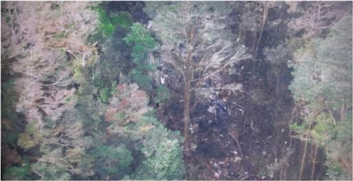 Photo released by National Search and Rescue Agency (BASARNAS) of Indonesia 8/17/15 shows the part of the wreckage that BASARNAS identified as of the missing Trigana Air Service flight. (AP Photo/The National Search and Rescue Agency of Indonesia)