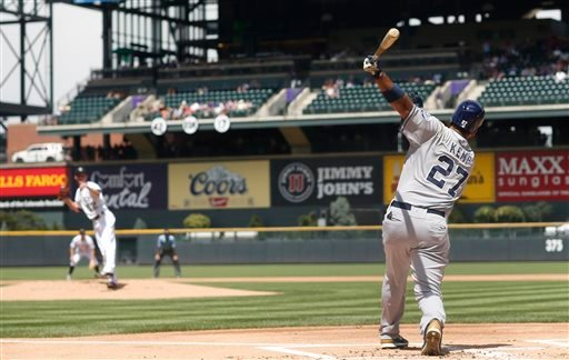San Diego Padres' Matt Kemp (27) flies out on a pitch from Colorado Rockies starter Chris Rusin to end the top of the first inning of a baseball game Sunday, Aug. 16, 2015, in Denver. (AP Photo/David Zalubowski)