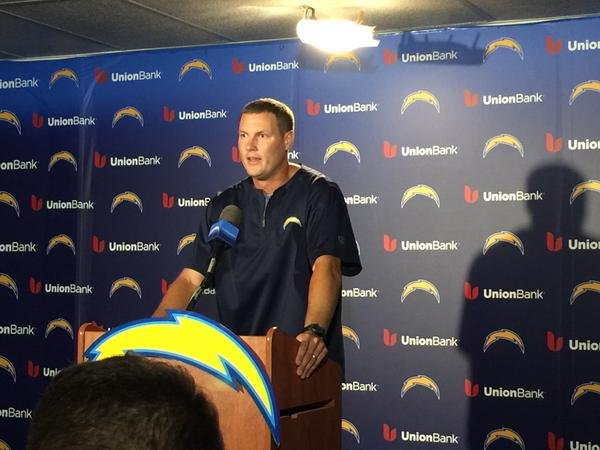 Philip Rivers speaks at a press conference Monday, August 17, 2015, after he agreed to a four-year contract extension with the San Diego Chargers.