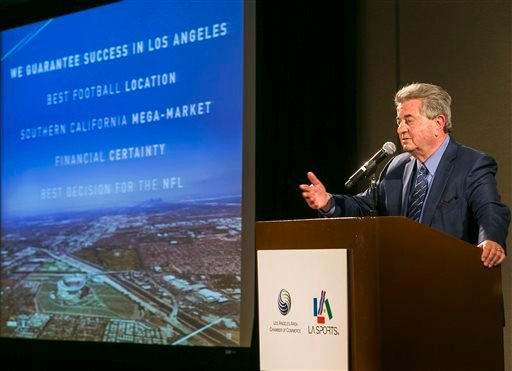 Former NFL executive Carmen Policy comments on a proposed $1.7-billion NFL football stadium during a lunch sponsored by the Los Angeles Sports Council downtown Los Angeles Monday, Aug. 17, 2015. The $1.7-billion new NFL football stadium proposed for Carso