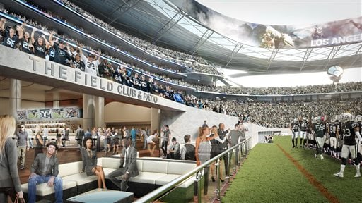This undated architectural rendering provided by MANICA Architecture shows the Field Club & Patio section for the proposed $1.7-billion NFL stadium in Carson, Calif. (MANICA Architecture via AP)