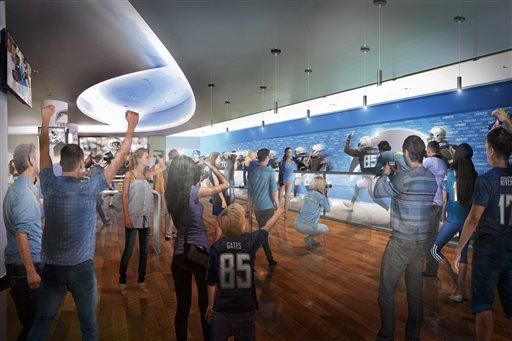 This undated architectural rendering provided by MANICA Architecture shows a view of players running to the field from the Field Club at the proposed $1.7-billion NFL stadium in Carson, Calif. (MANICA Architecture via AP)