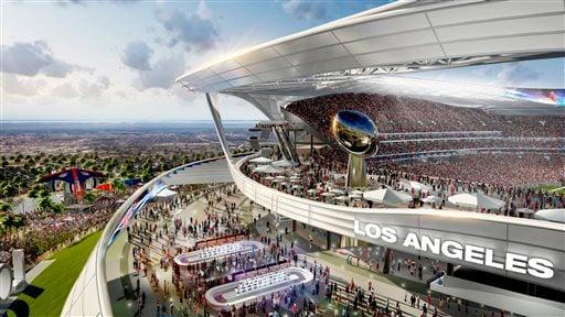 This undated architectural rendering provided by MANICA Architecture shows the Peristyle Club and Patio section of the proposed $1.7-billion NFL stadium the San Diego Chargers and Oakland Raiders football teams want to build in Carson, Calif. (MANICA Arch