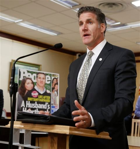 Dan Diaz, the husband of Brittany Maynard, the California woman with brain cancer who moved to Oregon to legally end her life last fall, discusses his support to the reintroduction of right to die legislation during a news conference Tuesday, Aug. 18, 201