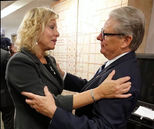 Debbie Ziegler, the mother of Brittany Maynard, talks with Sen. William Monning D-Carmel after a news conference to announce the reintroduction of right to die legislation, at Tuesday, Aug. 18, 2015, in Sacramento,Calif. Monning, along with Sen. Lois Wolk