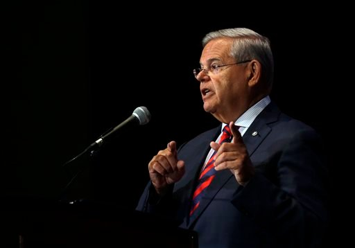 Sen. Bob Menendez addresses a gathering at Seton Hall University Tuesday, Aug. 18, 2015, in South Orange, N.J. New Jersey's senior U.S. senator said that he will vote to disapprove the Iran nuclear agreement and if called upon, would vote to override a ve