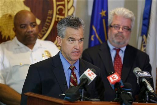 US Attorney Josh Minkler, center, Indianapolis Police chief Richard Hite, left, and Assistant US Attorney Steven D. DeBrota discuss the child pornography case against former Subway restaurant spokesman Jared Fogle following his hearing in Indianapolis, We