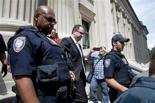 Former Subway pitchman Jared Fogle leaves the Federal Courthouse in Indianapolis, Wednesday, Aug. 19, 2015 following a hearing on child-pornography charges. Fogle agreed to plead guilty to allegations that he paid for sex acts with minors and received chi