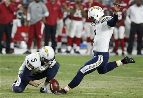 San Diego Chargers' Josh Lambo, right, prepares to kick the game-winning field goal against the Arizona Cardinals as holder Mike Scifres (5) sets the football.