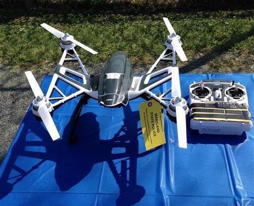 This photo shows a Yuneec Typhoon drone and controller Monday, Aug. 24, 2015, in Jessup, Md.
