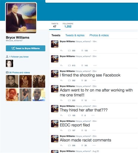 This screen shot shows the Twitter page of Bryce Williams, whose real name is Vester Lee Flanagan II, shortly after he fatally shot WDBJ-TV cameraman Adam Ward and reporter Alison Parker during a live broadcast in Moneta, Va.