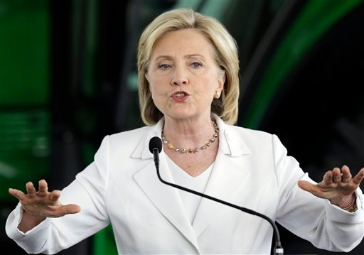 Democratic presidential candidate Hillary Rodham Clinton speaks at the Des Moines Area Community College, Wednesday, Aug. 26, 2015, in Ankeny, Iowa. The transmission of classified information across Hillary Clinton's private email is consistent with a cul