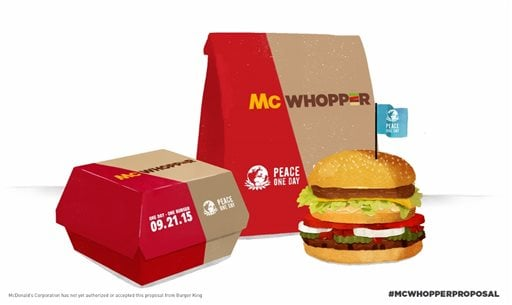 """This photo provided by Burger King shows a """"McWhopper."""""""