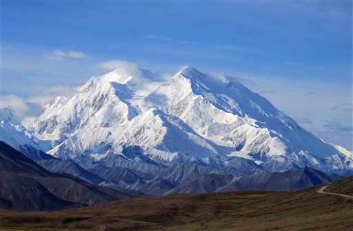 This Aug. 19, 2011 file photo shows Mount McKinley in Denali National Park, Alaska. President Barack Obama on Sunday, Aug. 30, 2015 said he's changing the name of the tallest mountain in North America from Mount McKinley to Denali. (AP Photo/Becky Bohrer,
