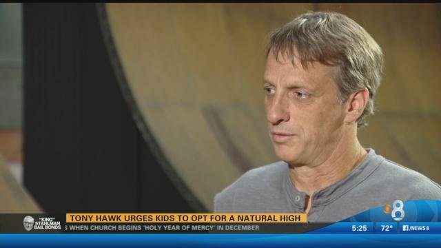 Tony Hawk urges kids to opt for a natural high